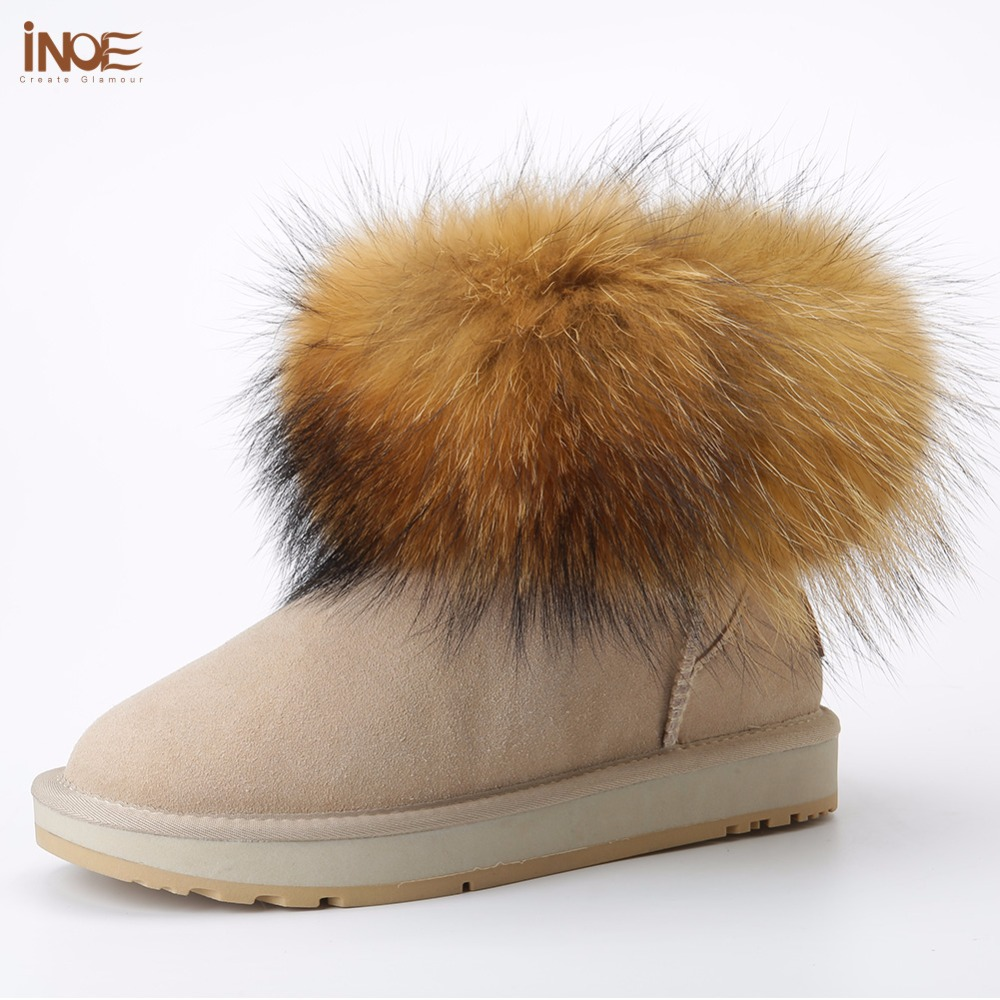 INOE fashion fox fur short ankle girls winter suede snow boots for women genuine sheepskin leather fur lined winter shoes brown inoe 2018 new genuine sheepskin leather sheep fur lined short ankle suede women winter snow boots for woman lace up winter shoes