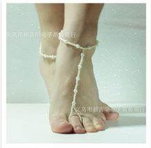 slave anklet chain Elastic andbeach barefoot sandals jewelry bridal wedding chain on foot multi color female