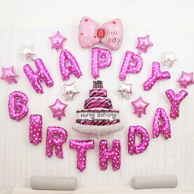 25 teile los 1 jahr altes baby dusche happy birthday rosa brief kuchen sternen bogen