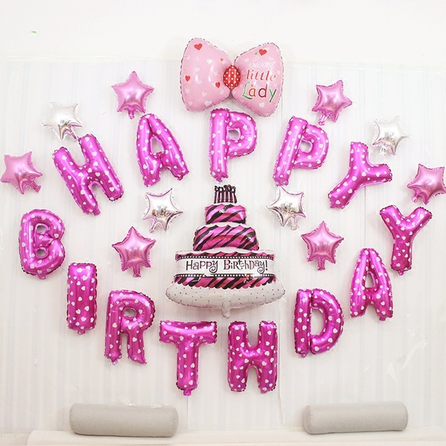 25pcs Lot 1 Year Old Baby Shower Happy Birthday Pink Letter Cake Stars Bow Balloons Girl Balloon Kids Party Decoration