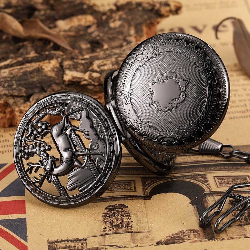 Vintage Deer Motiv Hohl handaufzug Taschenuhr Mechanische Doppel Abdeckung Fob Kette Halskette Uhren Steampunk Bronze Pendent