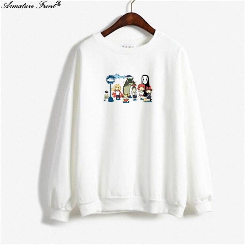 Selfless Cartoon Totoro Alliance Print Exo Hoodie Spring 2019 Autumn Coat Women Clothes Sweatshirt Plus Size Goth Tops White Hoodies Y256 Women's Clothing