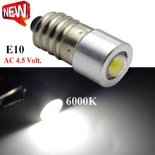 1X 1W 3000K 6000K High quality AC4.5V COB E10 Led Instrument Light,E10 Bulb Lamp Light 6V 12V Indicator Pilot