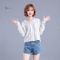 Spring And Autumn New Fashion Long Sleeve Women S Shirts V Neck Loose Striped Preppy Style