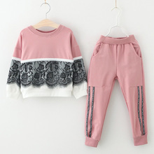 2019 Spring And Autumn New Childrens Clothing Girls Lace Stitching Sweater Suit Letter Trousers Two-piece 9038