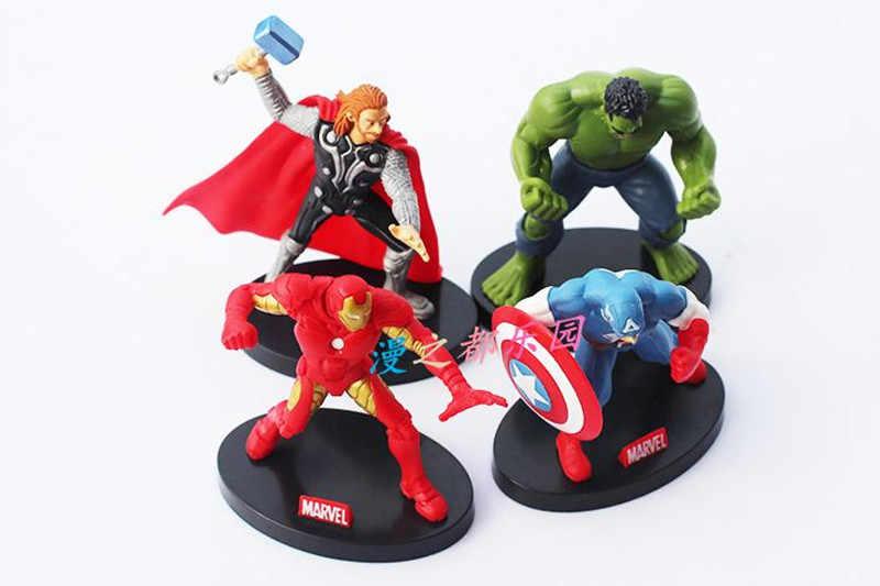 4 Cái/bộ 10 Cm Avengers Nhân Vật Siêu Hero Đồ Chơi Búp Bê Hulk Đội Trưởng Mỹ Thor Người Sắt Miễn Phí Vận Chuyển