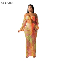 Fishnet Sheer Crochet Mesh Two Piece Set Tie Dye Printed Bodycon Bandage Dress Maxi Dresses Long Backless Crop Top Pencil Sexy