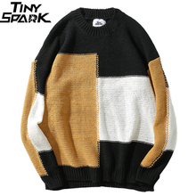 Color Block Patchwork Sweater Pullover Hip Hop Men Knitted Sweater Retro Vintage Loose Sweater Cotton New Autumn 2018 Streetwear