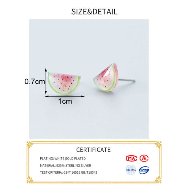 PONYKISS Real 925 Sterling Silver Resin Cute Watermelon Stud Earrings Summer Party Fashion Accessory Girl Birthday Lovely Gift 1