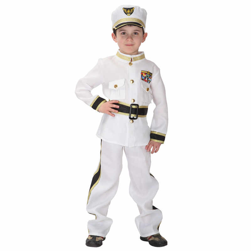 Kids Child White Marine Boy Costume Navy Admiral Costumes for Boys Halloween Purim Party Carnival Cosplay