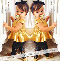 2017 Summer Kids Baby Girls 2pcs Short Sleeve Reflective Leather Clothes Bow Pant Set Trendy Children