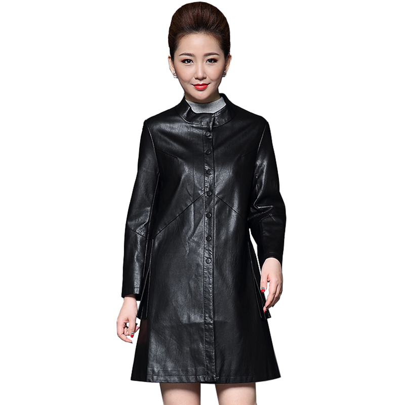 Plus size 5xl women Faux   Leather   coats 2017 winter Jacket Women Jackets   leather   Coat women's fashion long slim outerwear QH0687