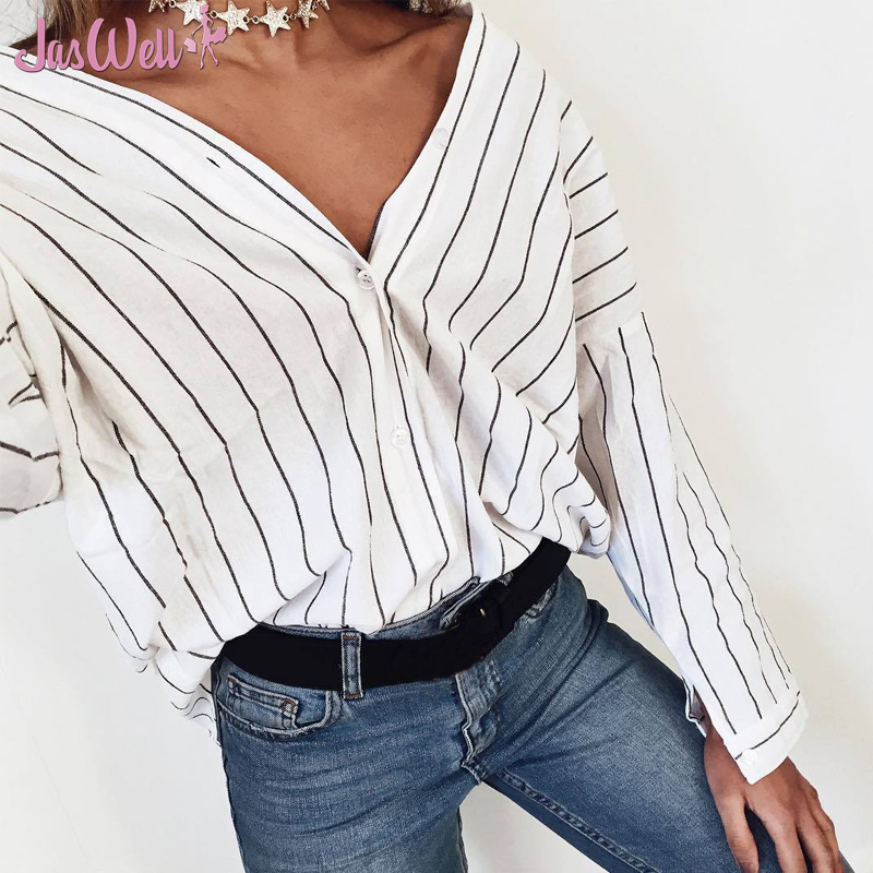 JasWell 2017 Fashion Women Ladies Casual Clothing Tops Long Sleeve Striped Shirts Casual Blouse Tops Loose Clothes