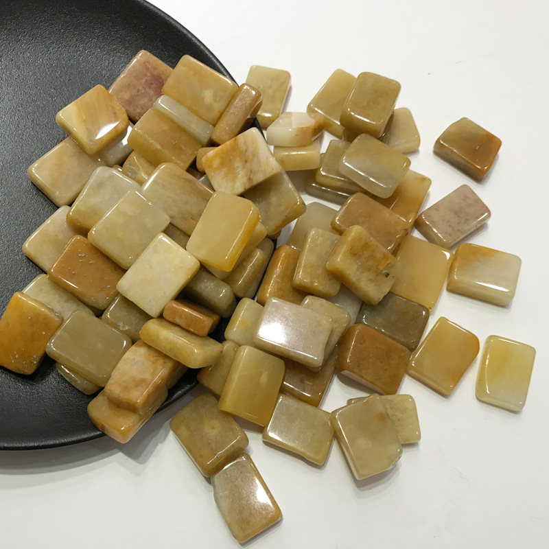 50g Natural Square Yellow Jade Clear Crystal Tumbled Stone Gemstone Chip Stone Square Quartz Crystals Natural Stones and Mineral