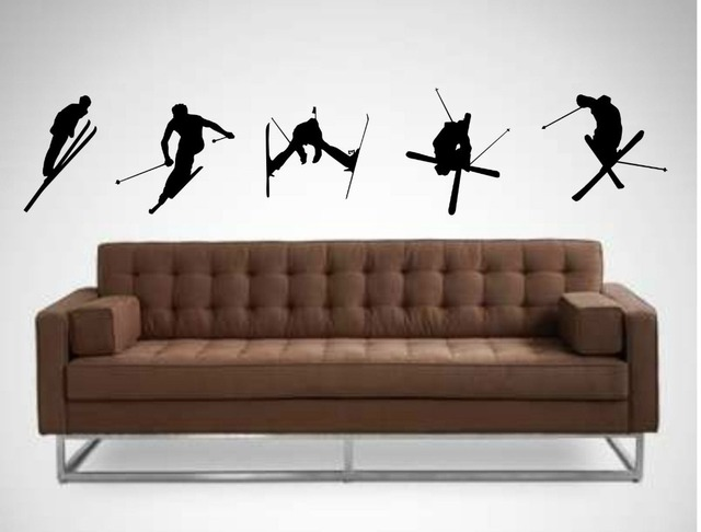 Ski wall stickers x5 childrens bedroom wall sticker decals Sports Wall  Decals 3 sizes 40 COLORS