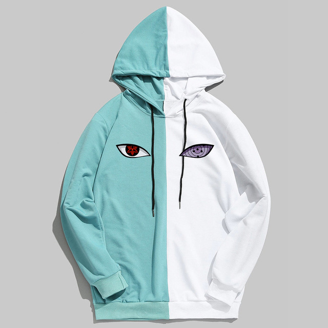 New Summer Anime Brand Naruto Printing The Sharingan Double Color Hoodies Pullover Sweatshirt Harajuku Hip Hop Thin Clothing
