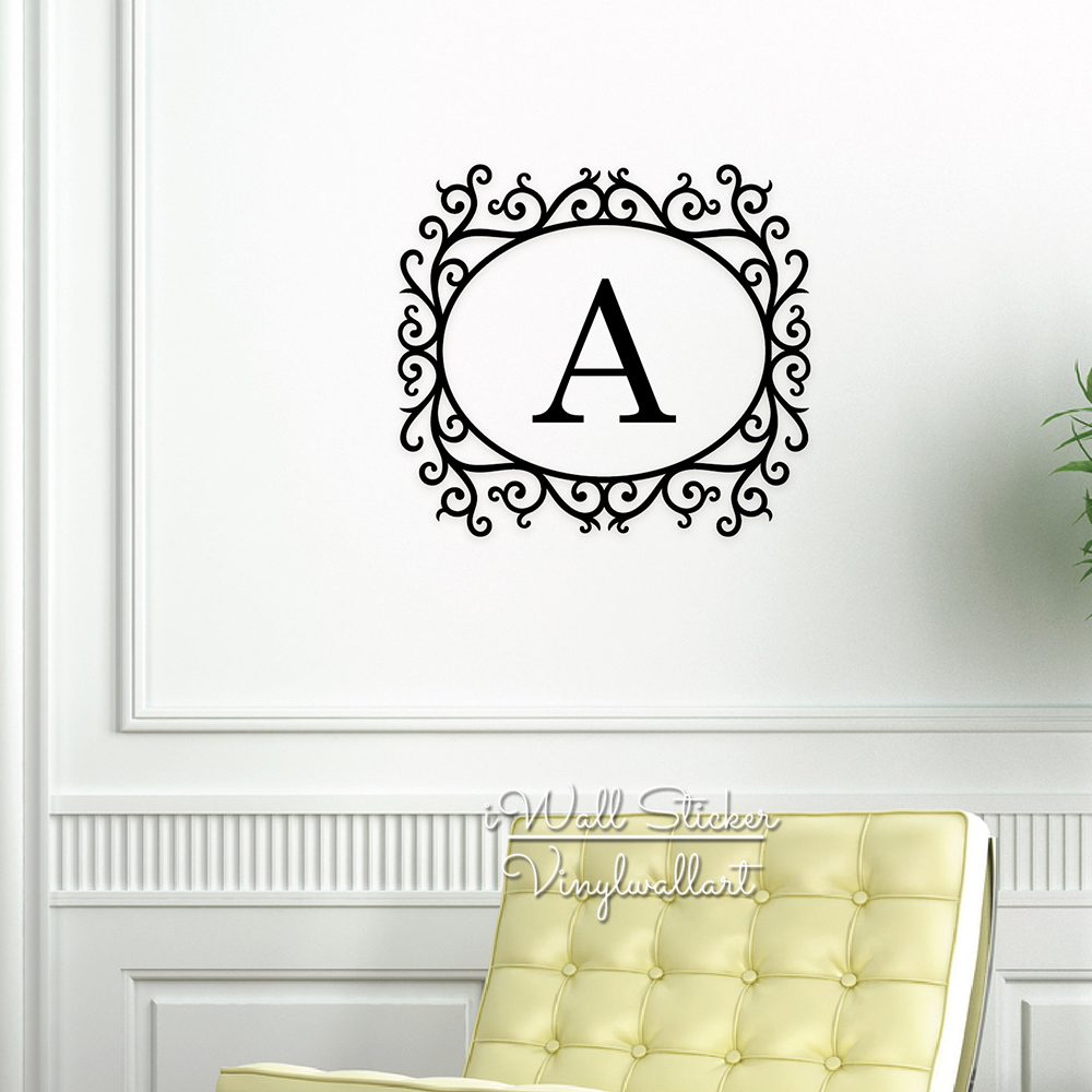 Custom Name Wall Sticker Initial Letter Name Wall Decal Floral Frame Name  Family Name Stickers Cut Vinyl C38 In Wall Stickers From Home U0026 Garden On  ... Part 47