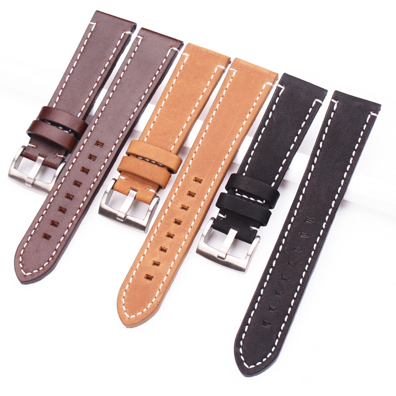 HENGRC Newest 18mm 20mm 22mm Genuine Leather Watchband Belt Manual Men Thick Brown Black Watch Band Strap Buckle Accessories цена