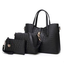 Womens Trendy Alligator Print PU Leahter Tote Should Satchel Handbags 3 Pieces Set