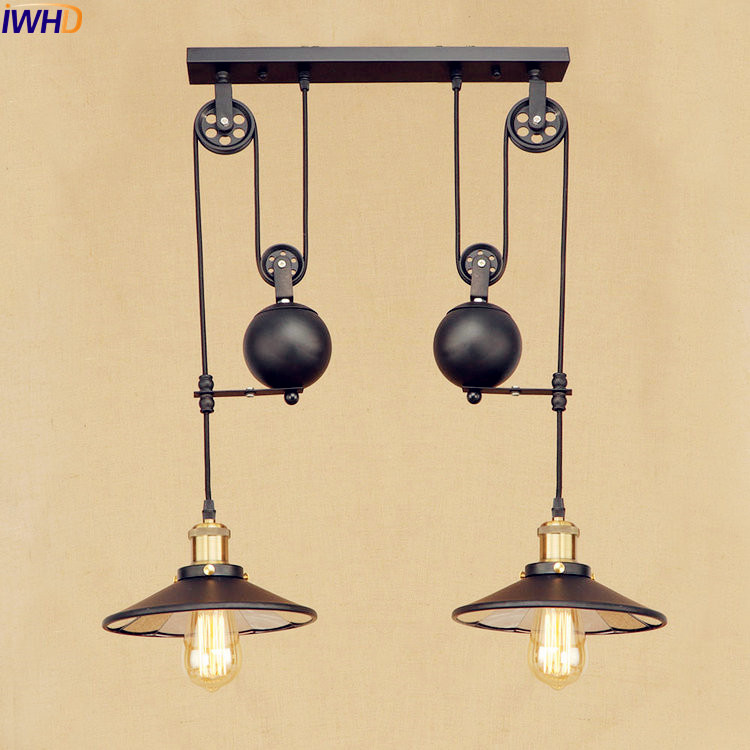 IWHD 2 Heads Vintage Pulley Pendant Lamp LED American Style Loft Industrial Pendant Lighting Fixtures Edison Lamparas iwhd loft style creative retro wheels droplight edison industrial vintage pendant light fixtures iron led hanging lamp lighting