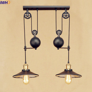 IWHD 2 Heads Vintage Pulley Pendant Lamp LED American Style Loft Industrial Pendant Lighting Fixtures Edison Lamparas stars shaped edison nordic vintage pendant lamps lights fixtures children room loft style industrial lighting colorful heads