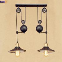 IWHD 2 Heads Vintage Pulley Pendant Lamp LED American Style Loft Industrial Pendant Lighting Fixtures Edison Lamparas