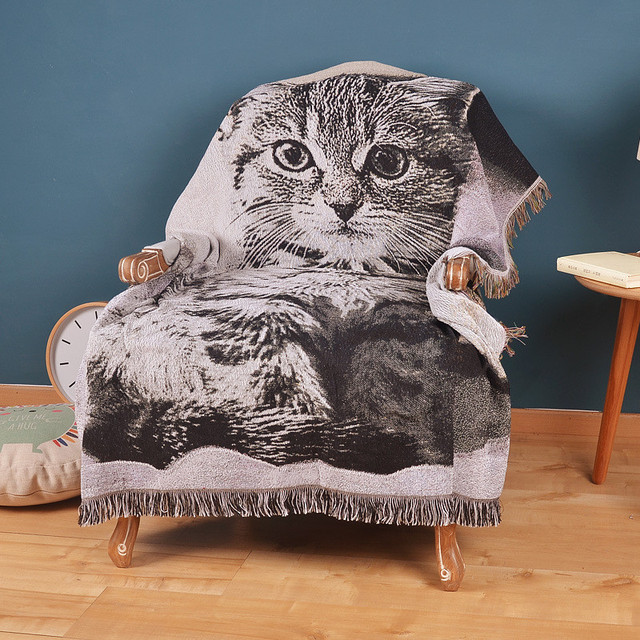 Sofa Cat Cotton Knitted Throw Blanket With Tassel