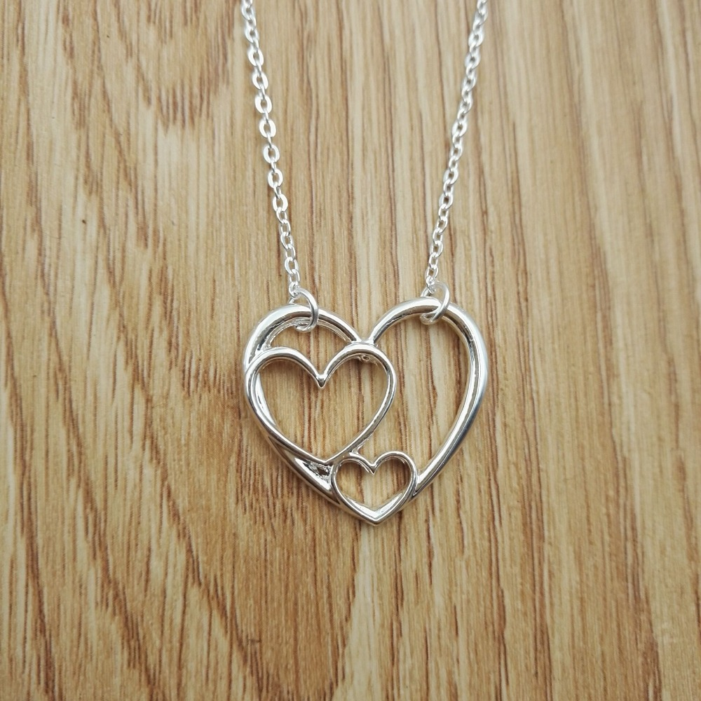1pcs drop shipping Three Generations  Mother and Child 3 Heart Necklace beautiful Triple Heart necklace christmas gift