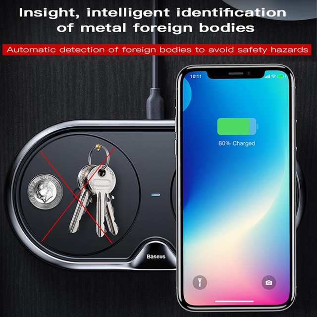 ebeb699d3ddfa Baseus 10W Dual 2 in 1 QI Wireless Charger For iPhone Xs Max X Samsung S10  S9 S8 Xiaomi Mi 9 Fast Wireless Charging Charger Pad-in Wireless Chargers  from ...