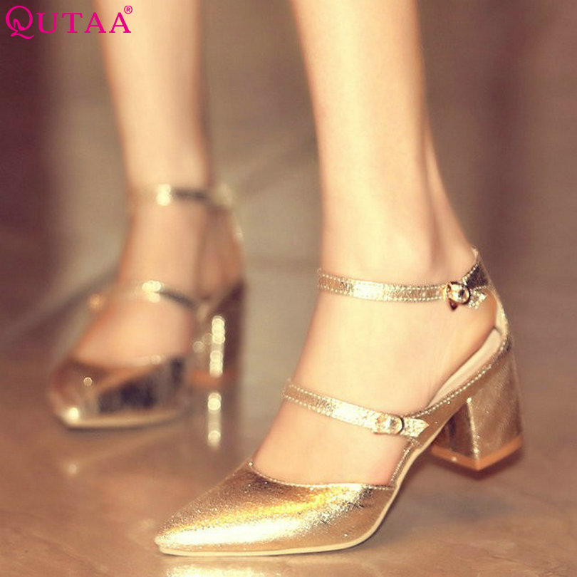 ФОТО QUTAA Spring And Summer Square High Heel Women Pump Pointed Toe Ankle Strap Ladies Wedding Shoes Size 34-43