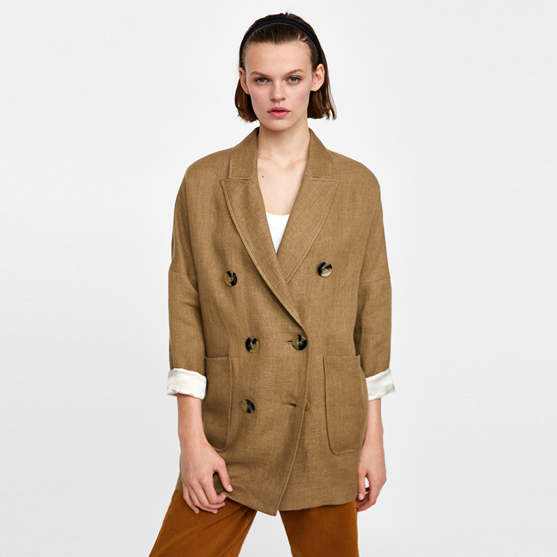 Khaki long sleeve notched collar loose blazers for women ladies autumn vintage oversize OL formal drop shoulder outwear tops