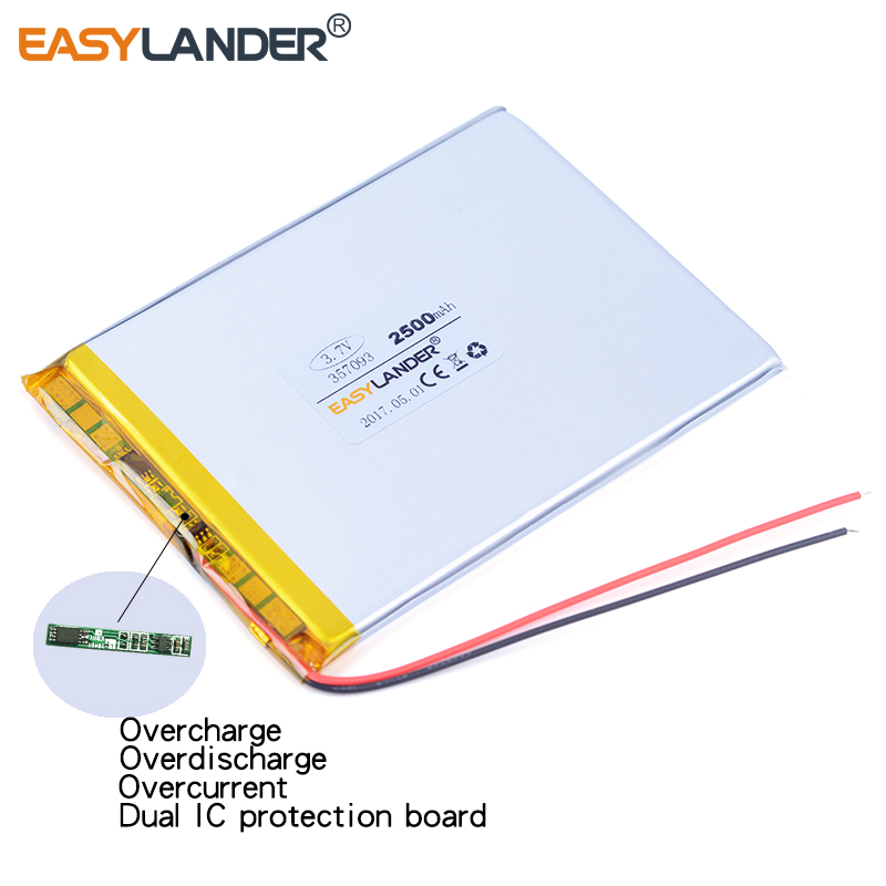 357093 <font><b>3.7V</b></font> <font><b>2500mAh</b></font> <font><b>Lipo</b></font> Polymer Li-ion Lithium <font><b>Battery</b></font> For Tablet PC PDA PSP IPAQ DVD E-book Power bank Toys Phone image