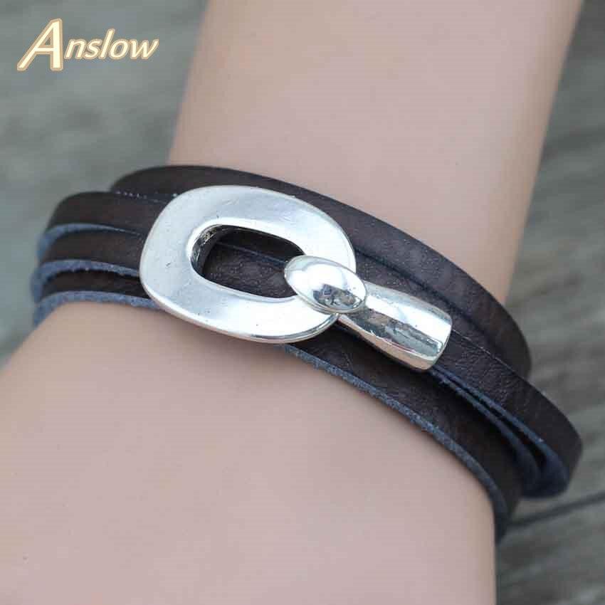 Anslow Wholesale Classic Design Hook 8 Colors Wrap Handmade DIY Leather Bracelet For Women Men Accessory LOW0362LB