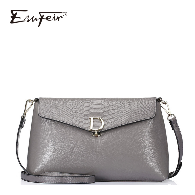 ESUFEIR Genuine Leather Women Messenger Bag Luxury Crocodile Pattern Female Stitching Shoulder Bag Multi-function Crossbody crocodile pattern cube shaped crossbody bag
