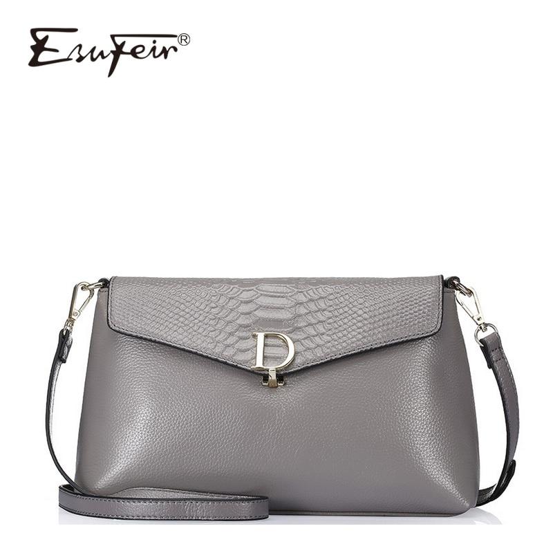 ESUFEIR Genuine Leather Women Messenger Bag Luxury Crocodile Pattern Female Stitching Shoulder Bag Multi-function Crossbody цена