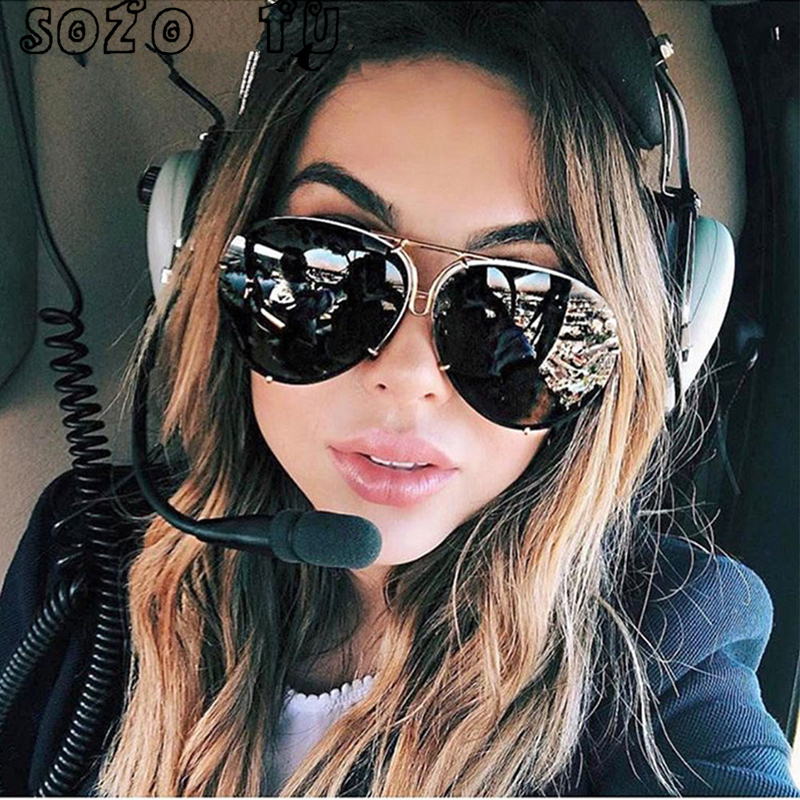 61e8332b88565 SOZO TU 2018 oversize sunglass women rimless Big Sunglasses Women Ladies  Large Aviation Sunglasses Female Oversized Glasses-in Sunglasses from  Apparel ...