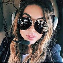 SOZO TU 2018 oversize sunglass women rimless Big Sunglasses Women Ladies Large Aviation Sunglasses Female Oversized Glasses