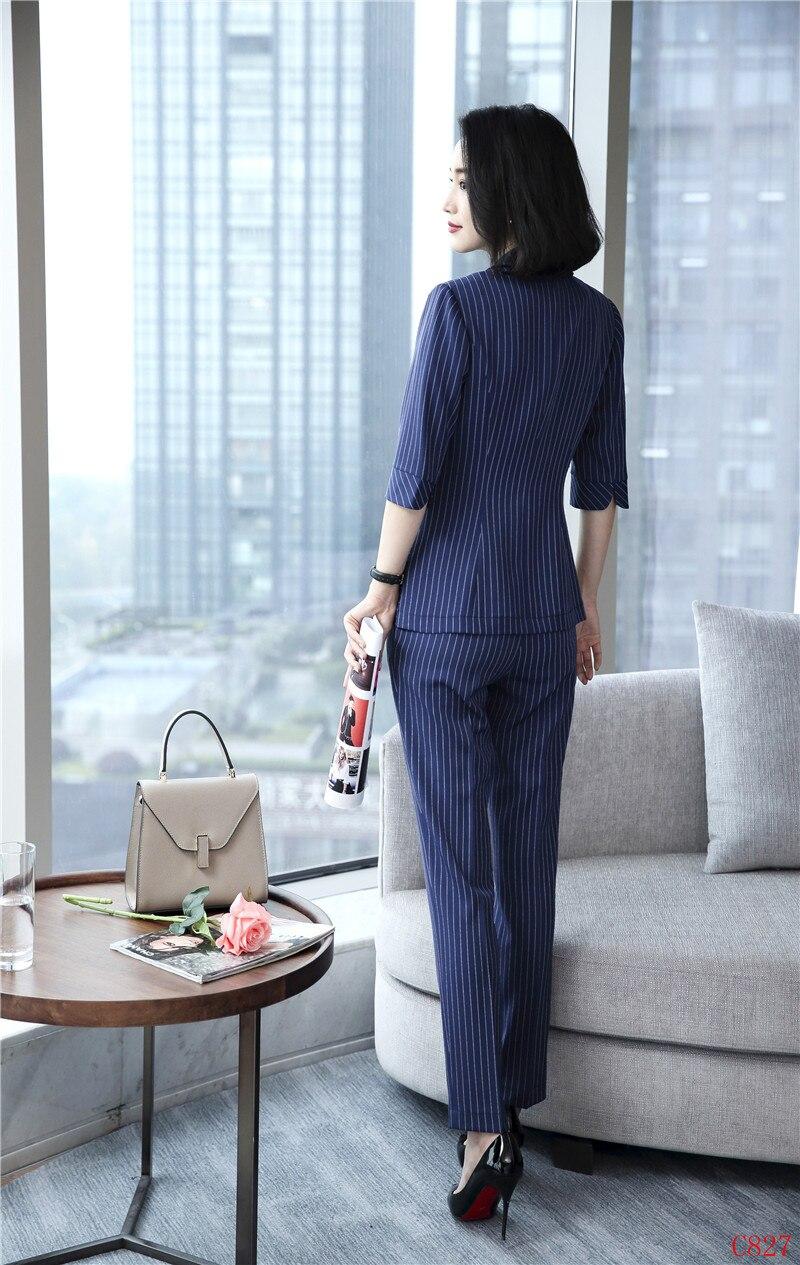 Conceptions Styles Manches Et Costumes D'affaires Veste Bleu Dames Rayé Avec Moitié Bureau Ensemble Pantalon Uniformes Formelle Blazer Femmes xW6TqAxSn
