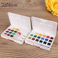 KiWarm 12 18 Colors Watercolor Solid Artist Cakes Pigment Brush Watercolor Painting Outdoors Sketch Painting DIY