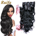 8A brazilian virgin hair clip in human hair extensions full head 100g 220g 18 clips 8pcs 1# black hair extensions wavy clip ins