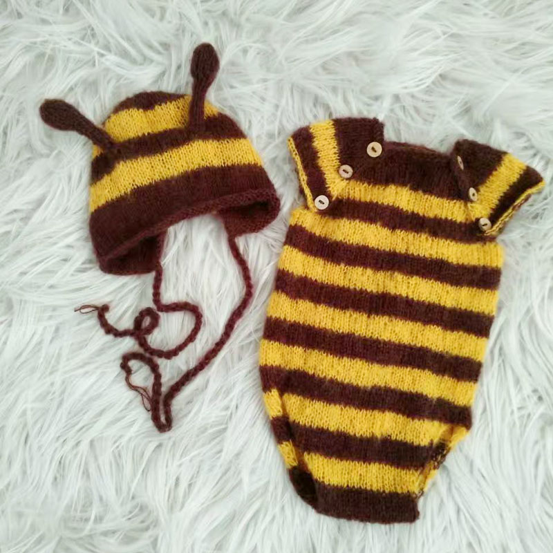 Soft Mohair Bee Hat with Overalls Clothing Set Photo Props Hand Crochet Bonnet Cute Mohair Romper Baby Cap Beanies Newborn so cute luxury newborn mohair romper newborn overalls newborn photo prop