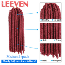 "Leeven 14""30strand faux locs crochet braids hair  synthetic braiding soft dread hair extensions High Temperature Fiber"