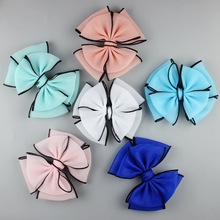 30PCS/lot Boutique Fold Doule Large gauze bowknot Hair bows For DIY headband Candy Color Bow Hair Accessories