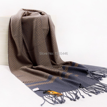 Free Shipping Winter Wool Cashmere Pashminas For Mens Luxury Brand Maroon Tartan Plaid Scarf Gifts Gentleman