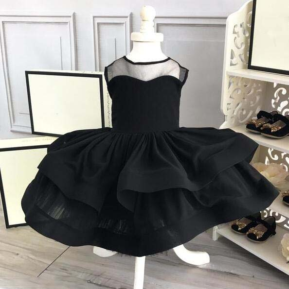 Vintage little girl black dress for evening prom party ball gown knee-length baby infant layered tulle birthday gown tulle trim layered knee length tee dress