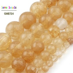 4/6/8/10/12mm Wholesale Yellow Citrines Quartzs Loose Beads for Jewelry Making Natural Stone Diy Bracelet 15