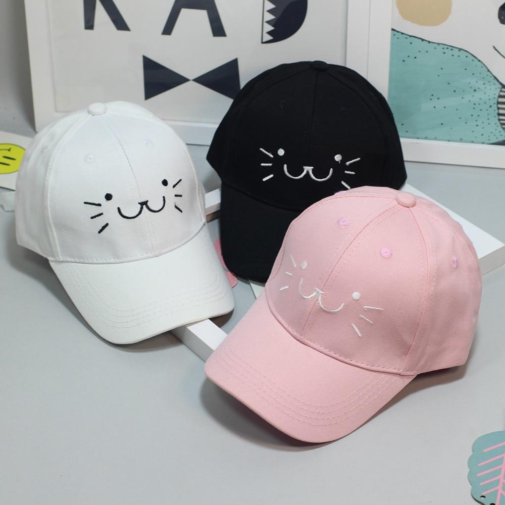 Detail Feedback Questions about 2018 Fashion Adjustable Embroidery Snapback  Baseball Cap Cute Cartoon Cat Face Hip Hop Flat Hat Casual Cap For Boy  Girls on ... ddc475befadb