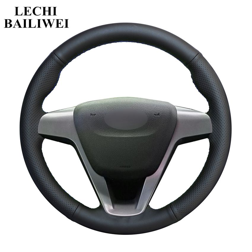 Hand-stitched Black Artificial Leather Car Steering Wheel Cover for Lada Vesta 2015 2016 2017 2018 2019 Xray 2015-2019(China)