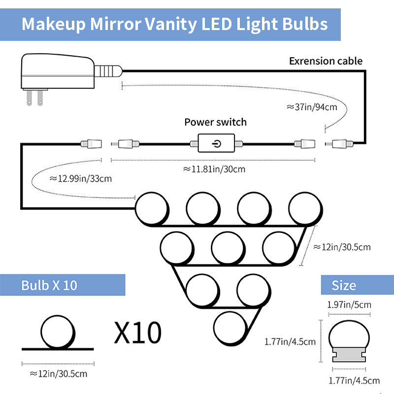 Makeup Mirror Led String Light Kit 12V Led Bulb Chain 220V 6 10 14 Bulbs Wall Lampada Led Lamp for Making up Dressing Bombillas in Wall Lamps from Lights Lighting