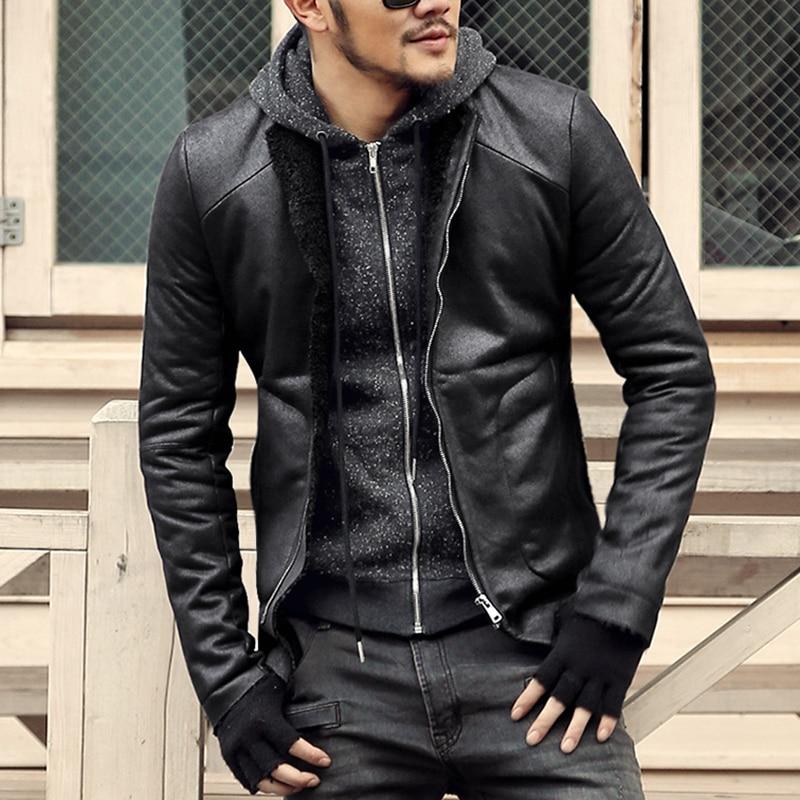 Fashion Black Winter Mens Short Coat Wool Fur Lining Slim Fit PU Leather Jackets Men Brand ...